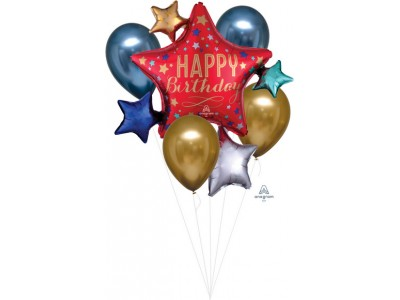 bouquet palloncini stelle happy birthday